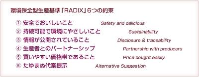 らでぃっしゅぼーや、環境保全型生産基準(RADIX)、栽培基準